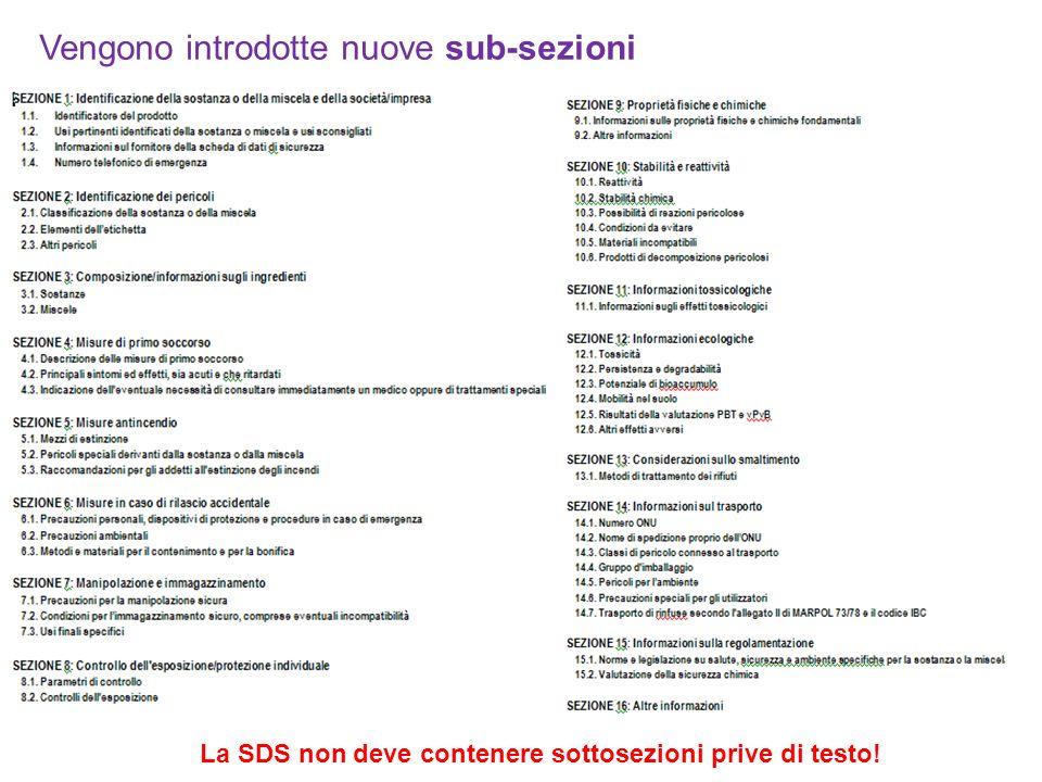Vengono introdotte nuove sub-sezioni La SDS non deve contenere sottosezioni prive di testo!
