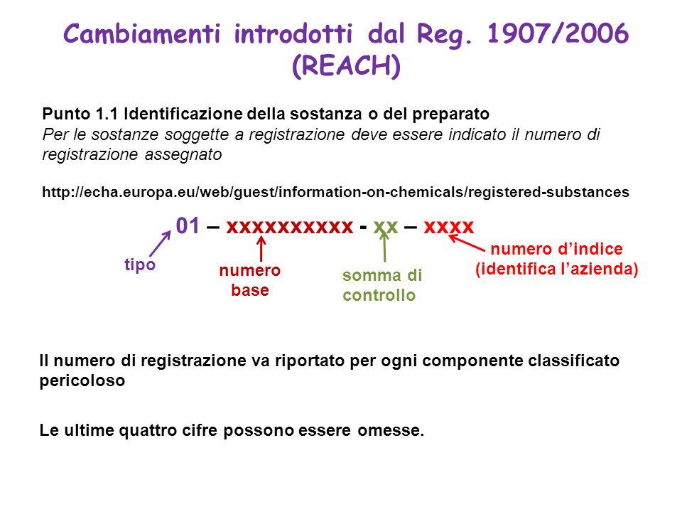 Cambiamenti introdotti dal Reg. 1907/2006 (REACH) Punto 1.1 Identificazione della sostanza o del preparato Per le sostanze soggette a registrazione de
