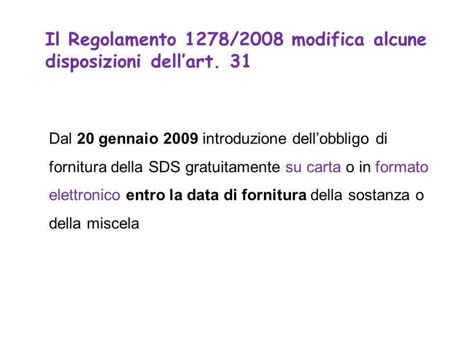 Dal 20 gennaio 2009 introduzione dellobbligo di fornitura della SDS gratuitamente su carta o in formato elettronico entro la data di fornitura della sostanza o della miscela Il Regolamento 1278/2008 modifica alcune disposizioni dellart.