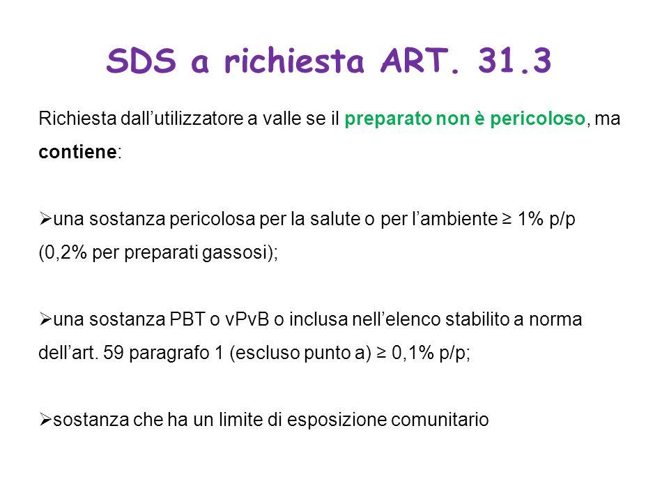 SDS a richiesta ART. 31.3 Richiesta dallutilizzatore a valle se il preparato non è pericoloso, ma contiene: una sostanza pericolosa per la salute o pe