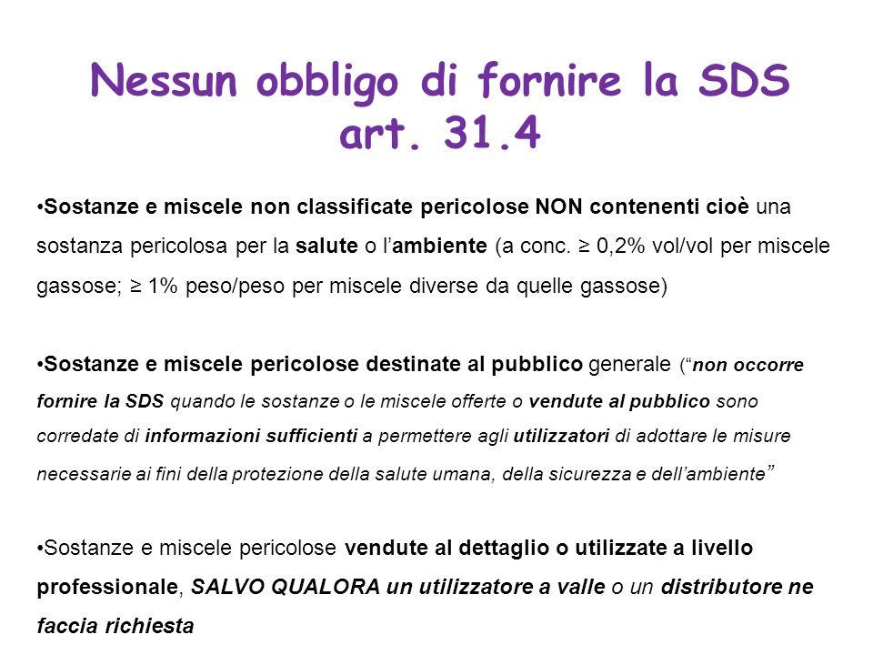 Nessun obbligo di fornire la SDS art. 31.4 Sostanze e miscele non classificate pericolose NON contenenti cioè una sostanza pericolosa per la salute o