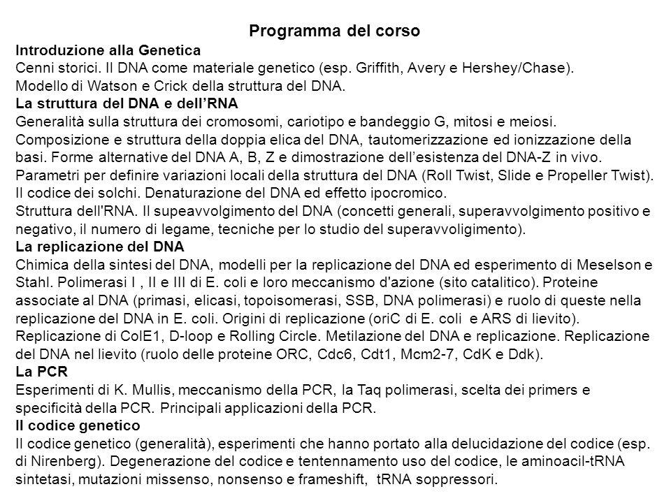 Programma del corso Introduzione alla Genetica Cenni storici. Il DNA come materiale genetico (esp. Griffith, Avery e Hershey/Chase). Modello di Watson
