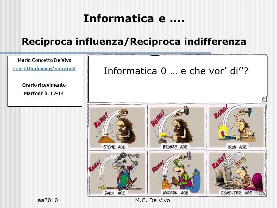 aa2010M.C. De Vivo1 Maria Concetta De Vivo concetta.devivo@unicam.it Orario ricevimento Martedi h. 12-14 Informatica e …. Reciproca influenza/Reciproc