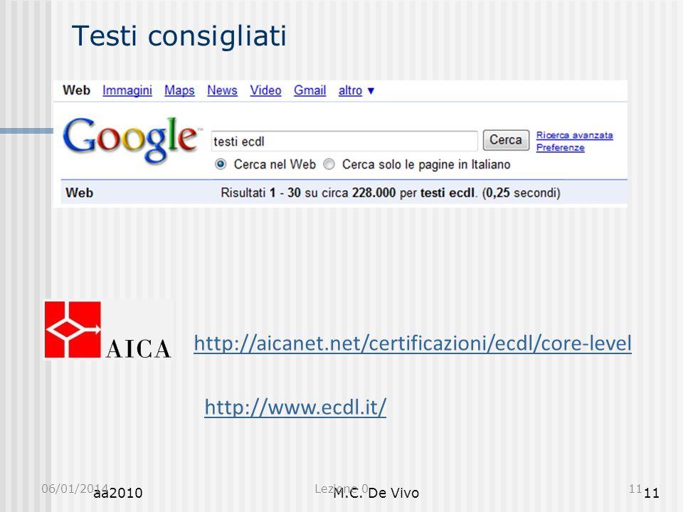 aa2010M.C. De Vivo11 Testi consigliati 06/01/2014Lezione 011 http://aicanet.net/certificazioni/ecdl/core-level http://www.ecdl.it/