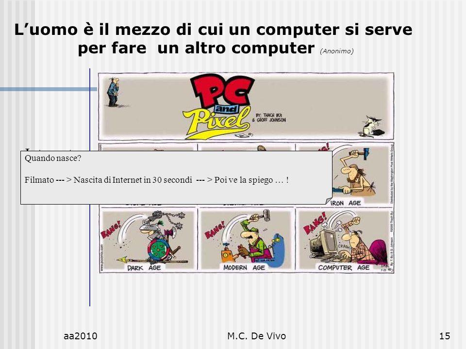 aa2010M.C. De Vivo15 Internet Luomo è il mezzo di cui un computer si serve per fare un altro computer (Anonimo) Quando nasce? Filmato --- > Nascita di