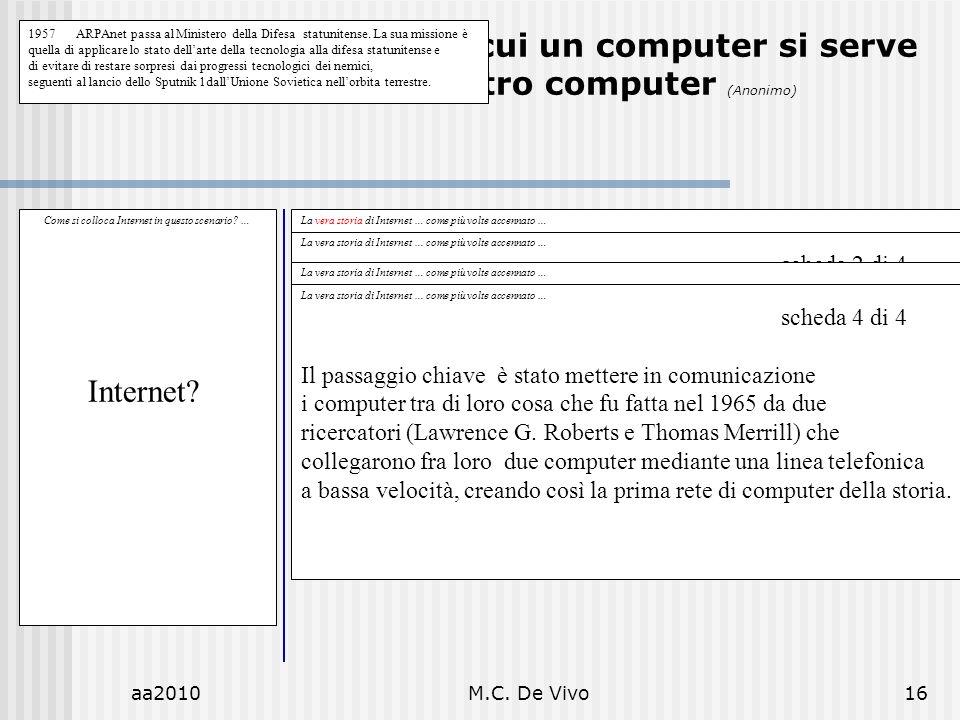 aa2010M.C. De Vivo16 Luomo è il mezzo di cui un computer si serve per fare un altro computer (Anonimo) Come si colloca Internet in questo scenario? …