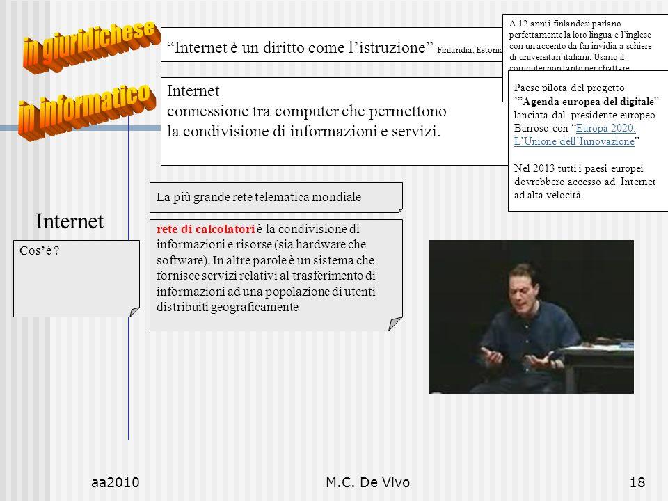 aa2010M.C. De Vivo18 Internet La più grande rete telematica mondiale rete di calcolatori è la condivisione di informazioni e risorse (sia hardware che