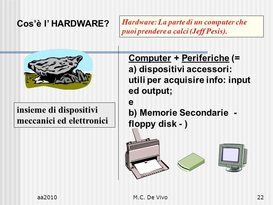 aa2010M.C. De Vivo22 Cosè l HARDWARE? Computer + Periferiche (= a) dispositivi accessori: utili per acquisire info: input ed output; e b) Memorie Seco