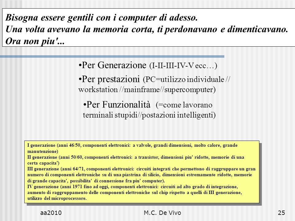 aa2010M.C. De Vivo25 Per Generazione (I-II-III-IV-V ecc…) Per prestazioni (PC=utilizzo individuale // workstation //mainframe//supercomputer) Per Funz