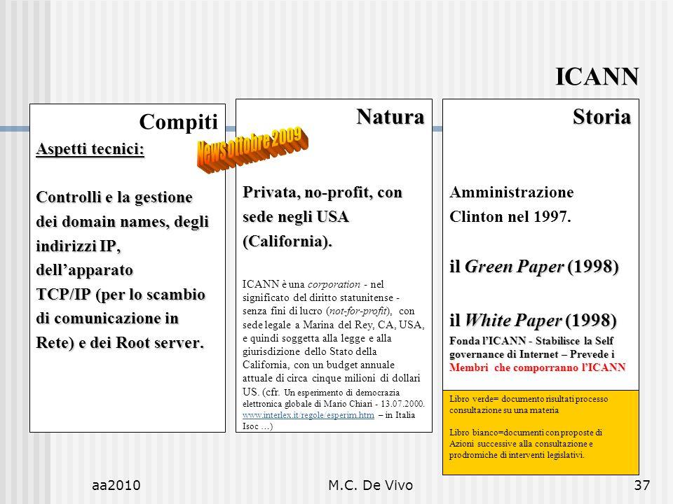 aa2010M.C. De Vivo37 Compiti Aspetti tecnici: Controlli e la gestione dei domain names, degli indirizzi IP, dellapparato TCP/IP (per lo scambio di com