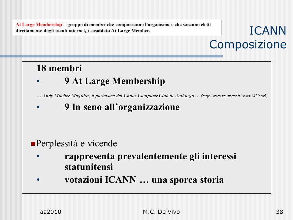 aa2010M.C. De Vivo38 ICANN Composizione 18 membri 9 At Large Membership9 At Large Membership … Andy Mueller-Maguhn, il portavoce del Chaos Computer Cl