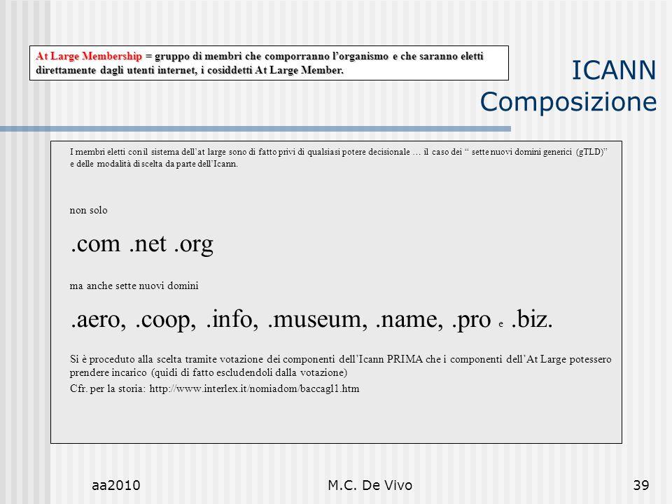 aa2010M.C. De Vivo39 ICANN Composizione I membri eletti con il sistema dellat large sono di fatto privi di qualsiasi potere decisionale … il caso dei