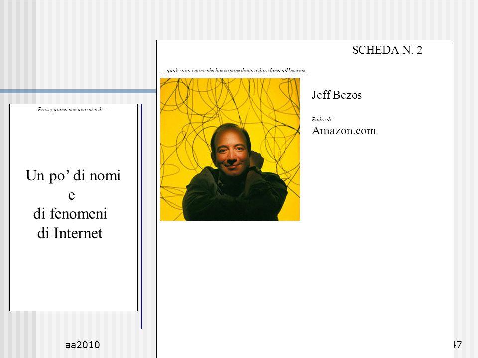 aa2010M.C. De Vivo47 Proseguiamo con una serie di … Un po di nomi e di fenomeni di Internet SCHEDA N. 2 … quali sono i nomi che hanno contribuito a da