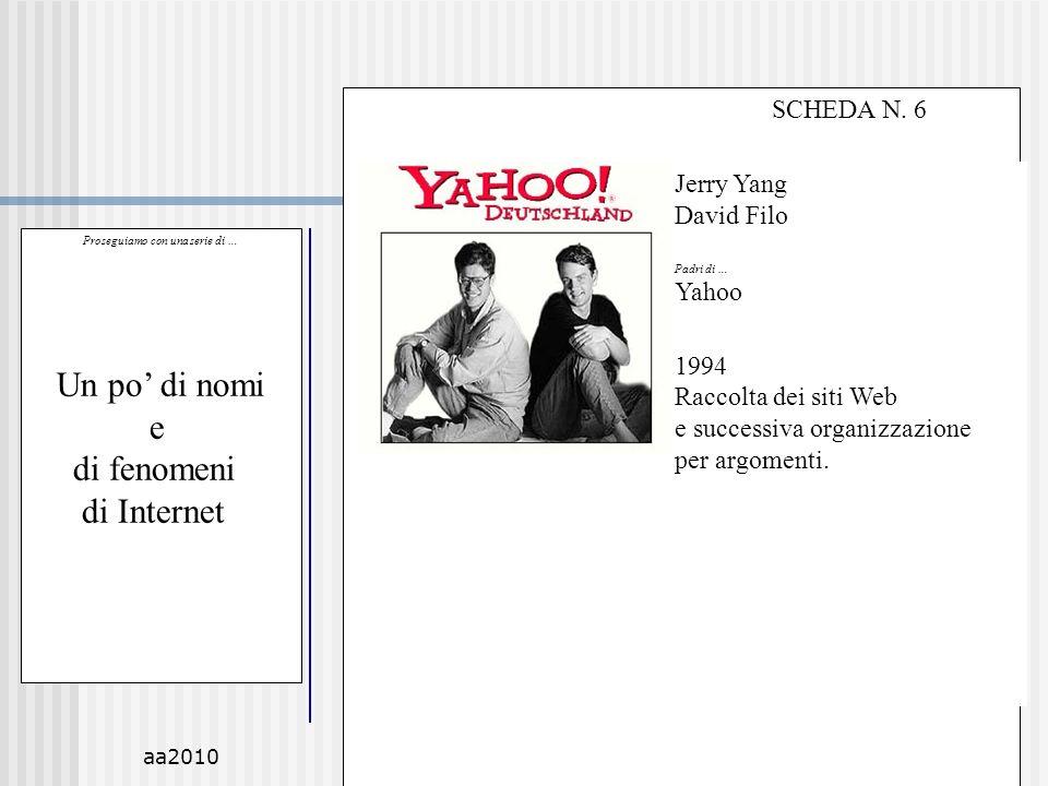 aa2010M.C. De Vivo50 Proseguiamo con una serie di … Un po di nomi e di fenomeni di Internet SCHEDA N. 6 Jerry Yang David Filo Padri di … Yahoo 1994 Ra
