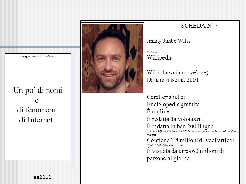 aa2010M.C. De Vivo51 Proseguiamo con una serie di … Un po di nomi e di fenomeni di Internet SCHEDA N. 7 Jimmy Jimbo Wales Padre di Wikipedia Wiki=hawa
