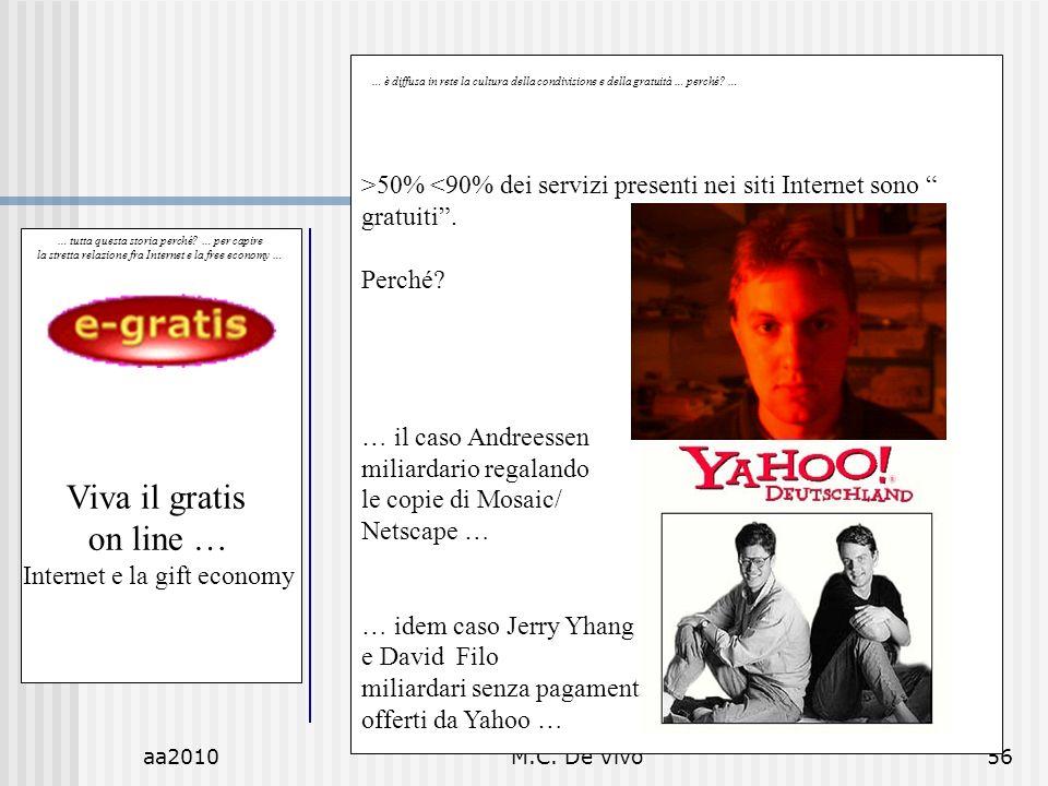 aa2010M.C. De Vivo56 … tutta questa storia perché? … per capire la stretta relazione fra Internet e la free economy … Viva il gratis on line … Interne