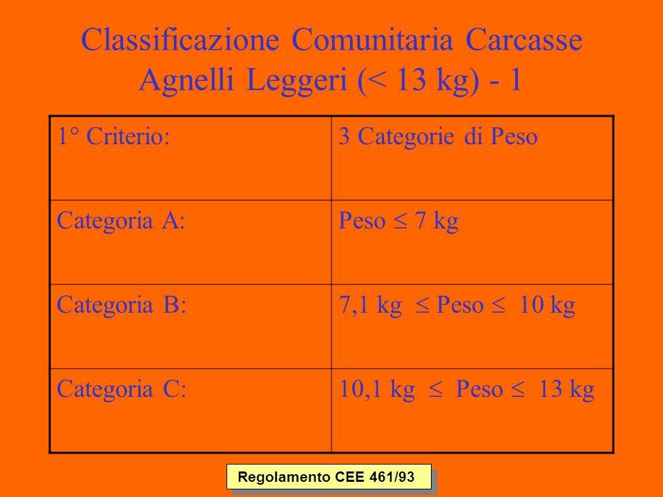 Classificazione Comunitaria Carcasse Agnelli Leggeri (< 13 kg) - 1 1° Criterio:3 Categorie di Peso Categoria A: Peso 7 kg Categoria B: 7,1 kg Peso 10 kg Categoria C: 10,1 kg Peso 13 kg Regolamento CEE 461/93