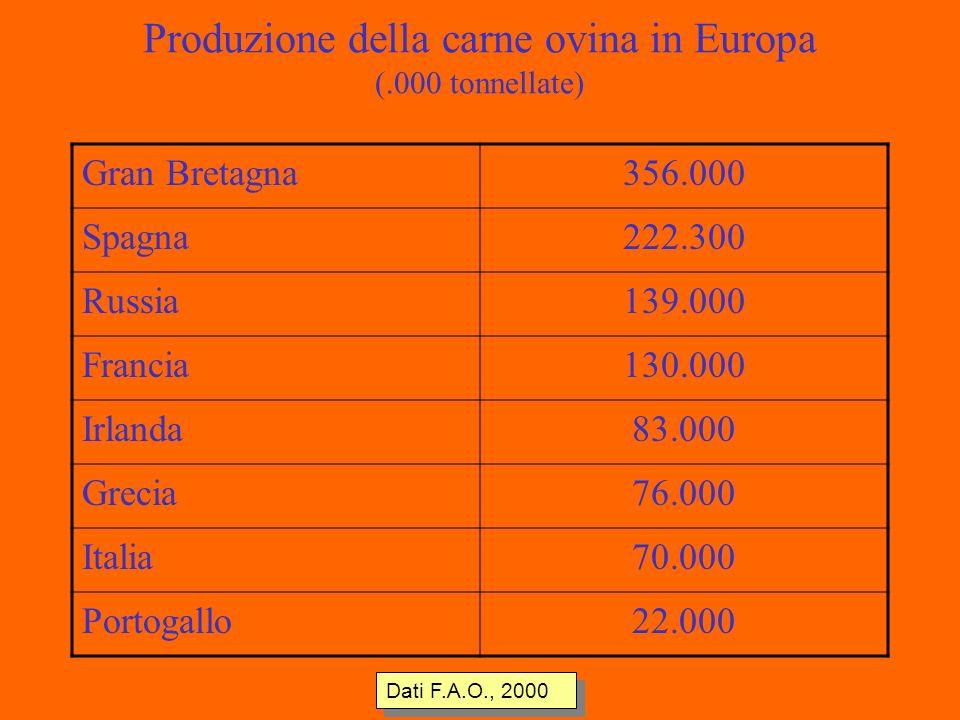 Produzione della carne ovina in Europa (.000 tonnellate) Gran Bretagna356.000 Spagna222.300 Russia139.000 Francia130.000 Irlanda83.000 Grecia76.000 Italia70.000 Portogallo22.000 Dati F.A.O., 2000