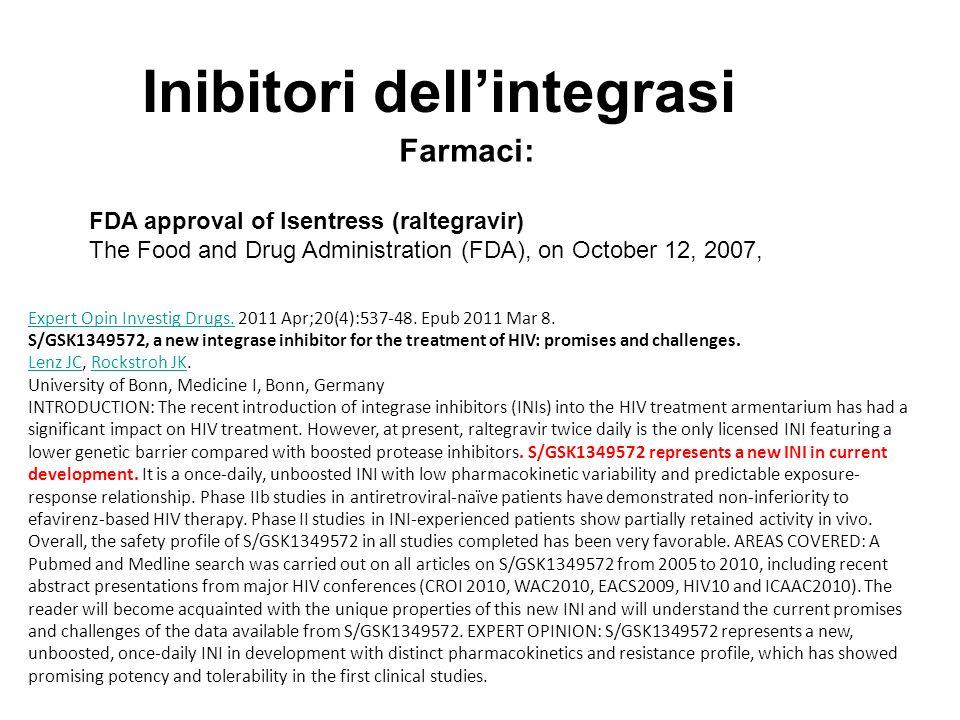 Inibitori dellintegrasi Farmaci: FDA approval of Isentress (raltegravir) The Food and Drug Administration (FDA), on October 12, 2007, Expert Opin Investig Drugs.Expert Opin Investig Drugs.