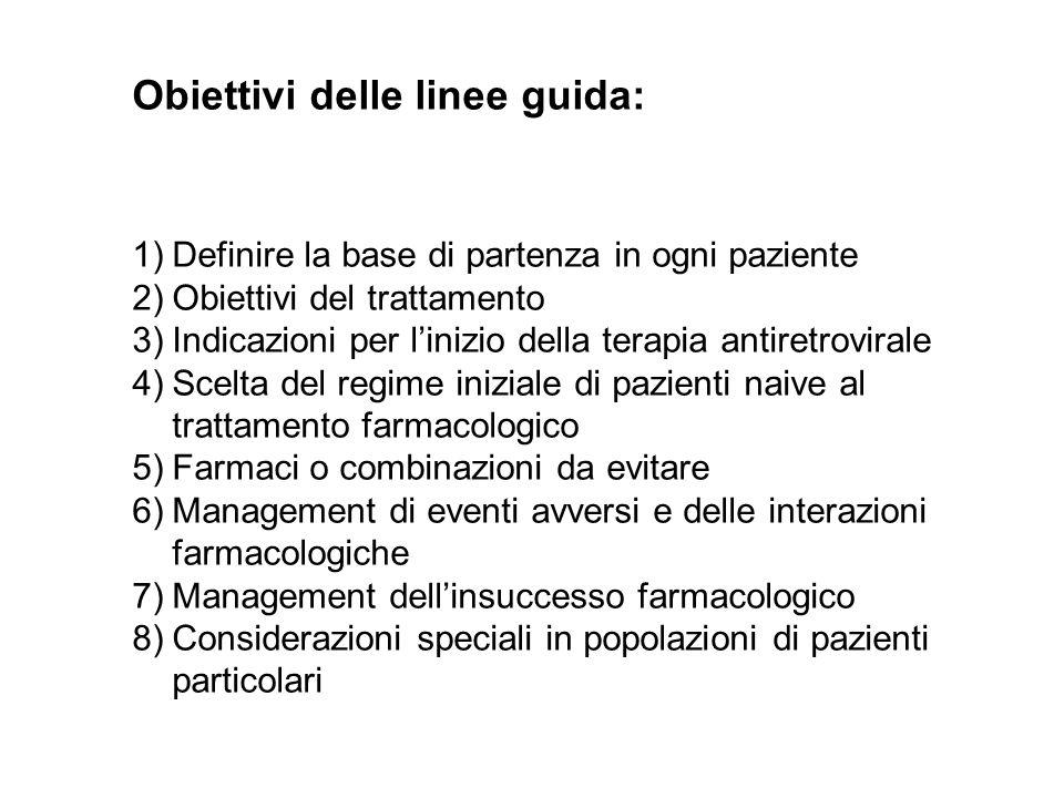Obiettivi delle linee guida: 1)Definire la base di partenza in ogni paziente 2)Obiettivi del trattamento 3)Indicazioni per linizio della terapia antir