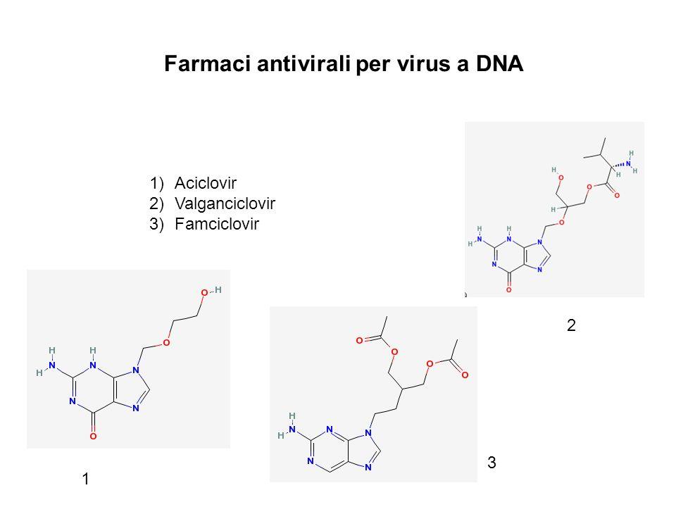 Farmaci antivirali per virus a DNA 1)Aciclovir 2)Valganciclovir 3)Famciclovir 1 2 3