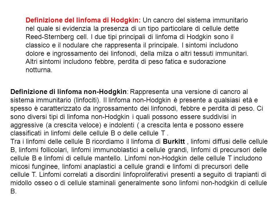 Definizione del linfoma di Hodgkin: Un cancro del sistema immunitario nel quale si evidenzia la presenza di un tipo particolare di cellule dette Reed-
