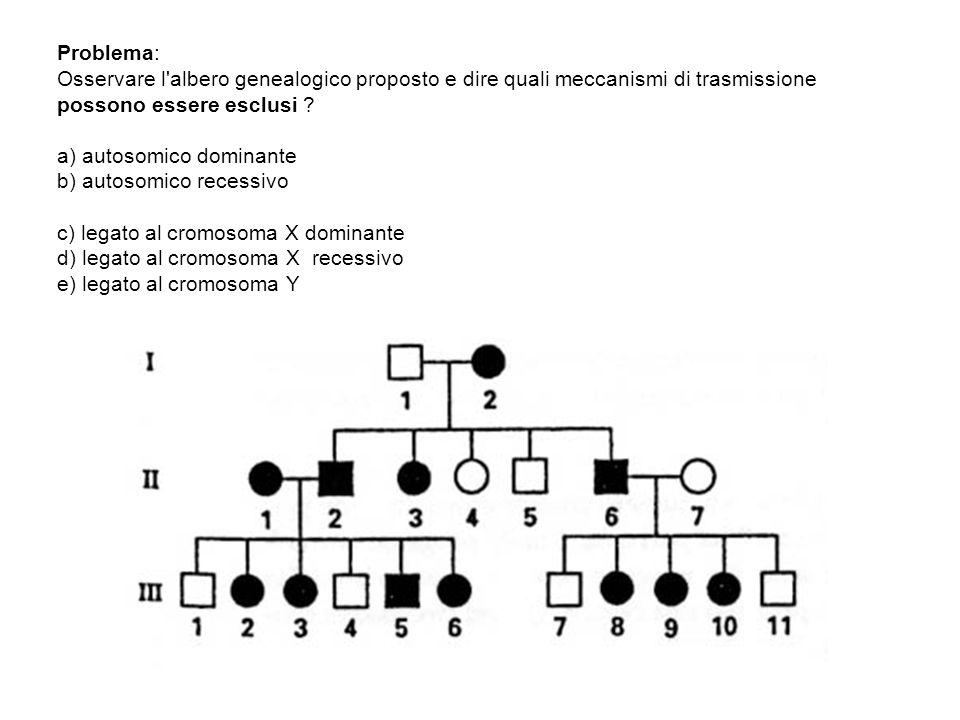 Problema: Osservare l'albero genealogico proposto e dire quali meccanismi di trasmissione possono essere esclusi ? a) autosomico dominante b) autosomi