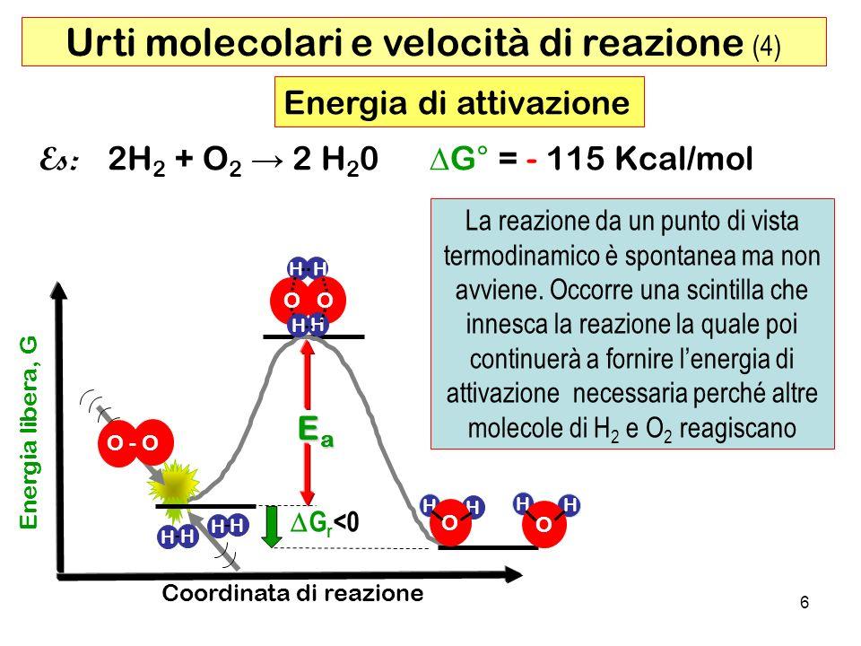 7 T1T1 T2T2T2T2 T3T3T3T3 Ea N E =N e -Ea /RT NENNEN Energia cinetica T1 < T2 < T3 Aumentando la temperatura, aumenta lenergia cinetica media ( E Cm ) delle molecole e di conseguenza aumenta il n°di molecole ( N E ) aventi lenergia minima necessaria per formare il complesso attivato (Ea).