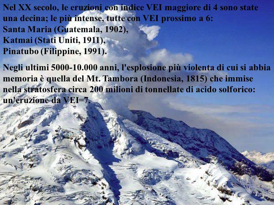 Nel XX secolo, le eruzioni con indice VEI maggiore di 4 sono state una decina; le più intense, tutte con VEI prossimo a 6: Santa Maria (Guatemala, 190