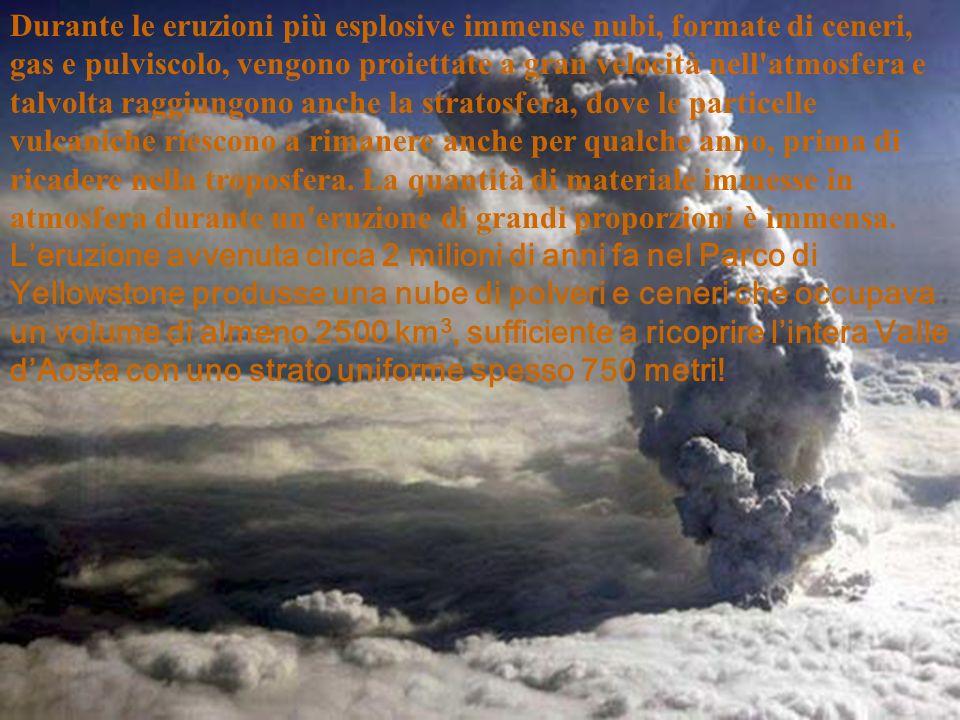 Durante le eruzioni più esplosive immense nubi, formate di ceneri, gas e pulviscolo, vengono proiettate a gran velocità nell'atmosfera e talvolta ragg