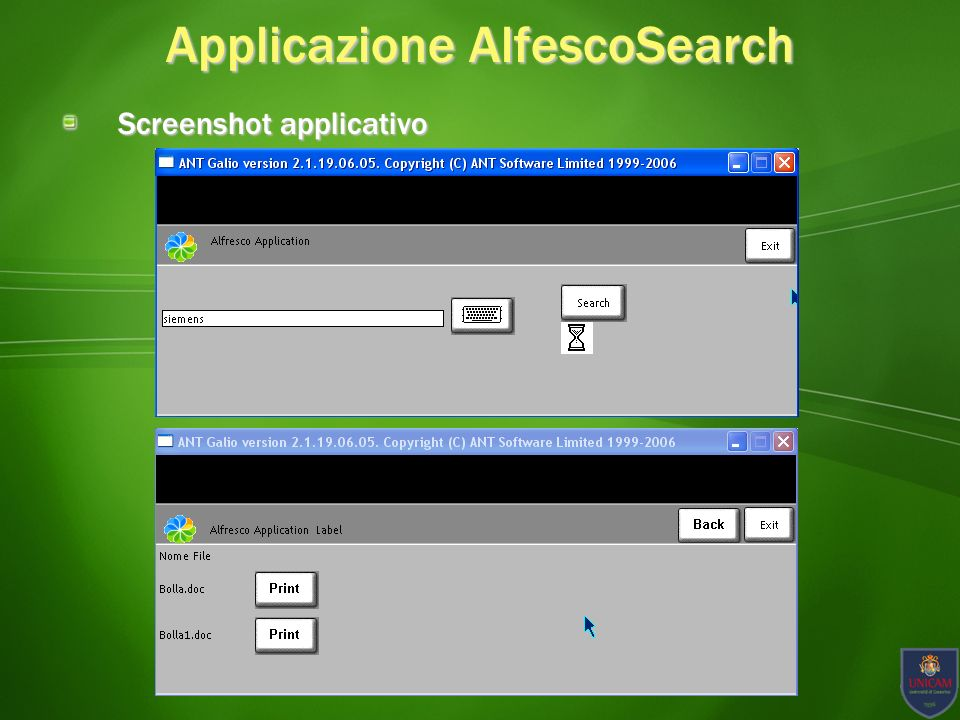 Applicazione AlfescoSearch Screenshot applicativo