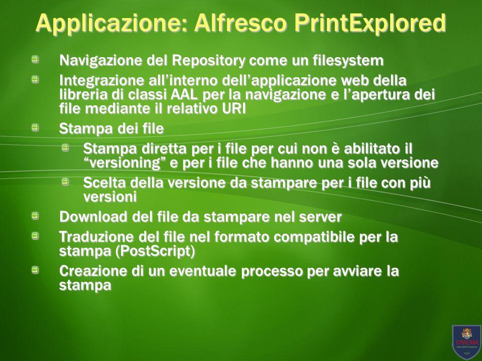 Applicazione: Alfresco PrintExplored Screenshot Applicativo