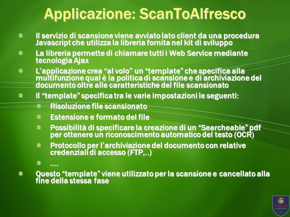 Applicazione: ScanToAlfresco Screeshot applicativo