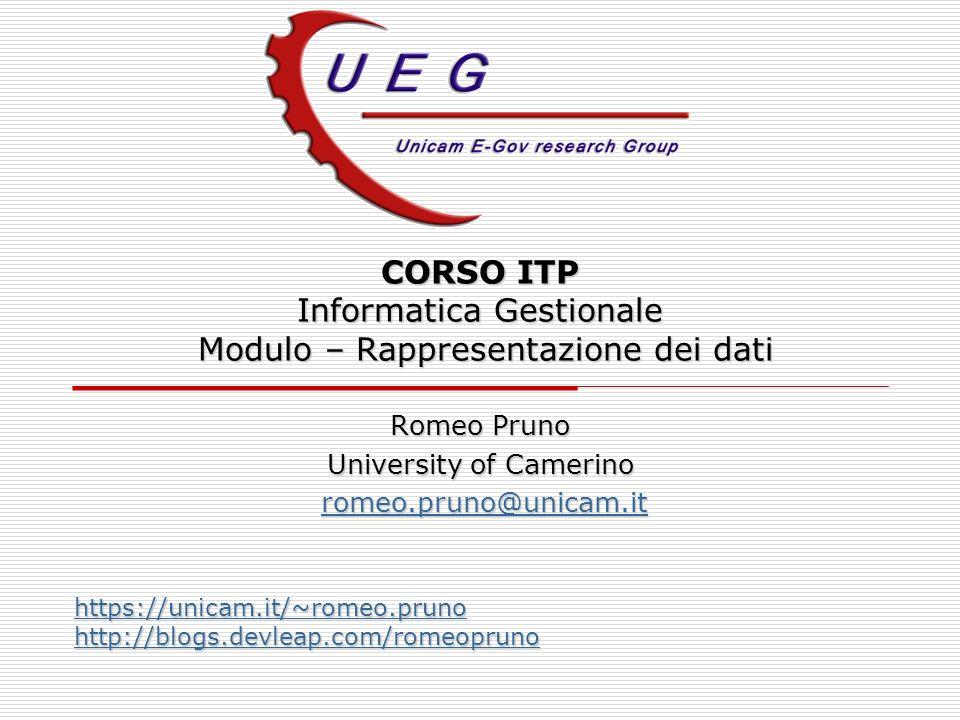 CORSO ITP Informatica Gestionale Modulo – Rappresentazione dei dati Romeo Pruno University of Camerino romeo.pruno@unicam.it romeo.pruno@unicam.itrome