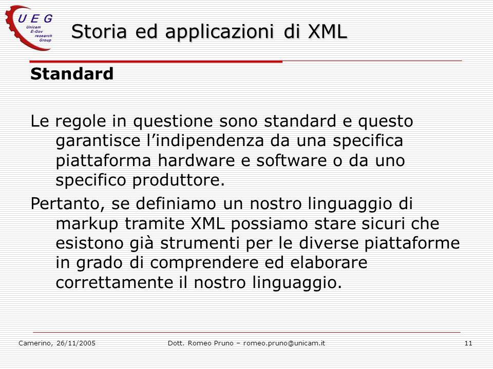 Camerino, 26/11/2005Dott. Romeo Pruno – romeo.pruno@unicam.it11 Storia ed applicazioni di XML Standard Le regole in questione sono standard e questo g