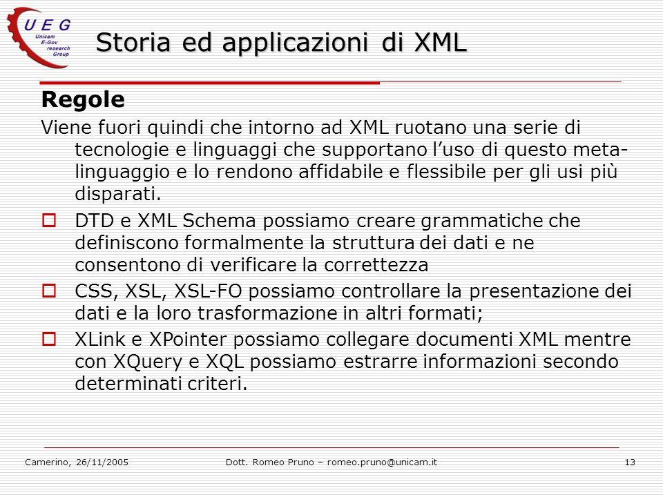 Camerino, 26/11/2005Dott. Romeo Pruno – romeo.pruno@unicam.it13 Storia ed applicazioni di XML Regole Viene fuori quindi che intorno ad XML ruotano una