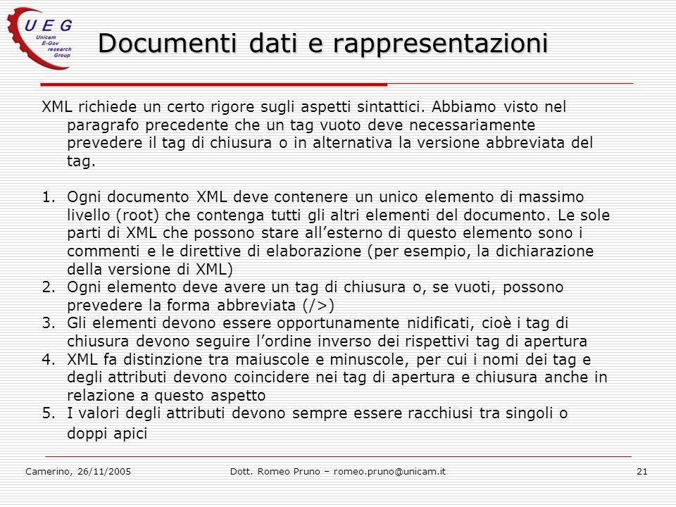 Camerino, 26/11/2005Dott. Romeo Pruno – romeo.pruno@unicam.it21 Documenti dati e rappresentazioni XML richiede un certo rigore sugli aspetti sintattic