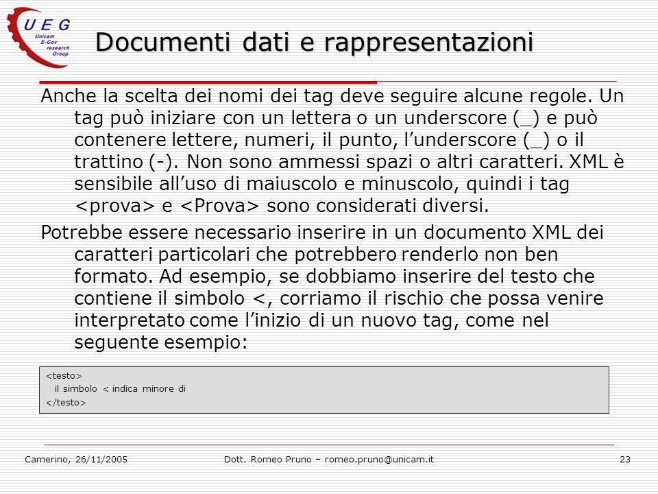 Camerino, 26/11/2005Dott. Romeo Pruno – romeo.pruno@unicam.it23 Documenti dati e rappresentazioni Anche la scelta dei nomi dei tag deve seguire alcune
