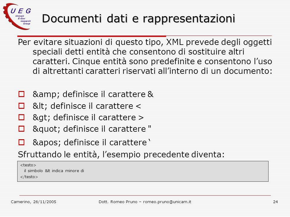 Camerino, 26/11/2005Dott. Romeo Pruno – romeo.pruno@unicam.it24 Documenti dati e rappresentazioni Per evitare situazioni di questo tipo, XML prevede d