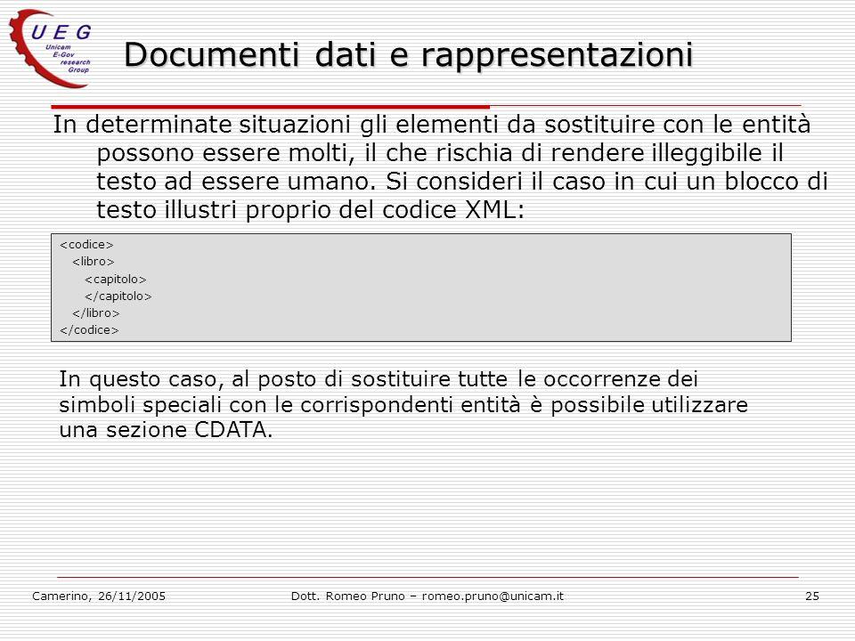 Camerino, 26/11/2005Dott. Romeo Pruno – romeo.pruno@unicam.it25 Documenti dati e rappresentazioni In determinate situazioni gli elementi da sostituire