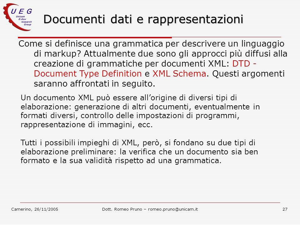 Camerino, 26/11/2005Dott. Romeo Pruno – romeo.pruno@unicam.it27 Documenti dati e rappresentazioni Come si definisce una grammatica per descrivere un l