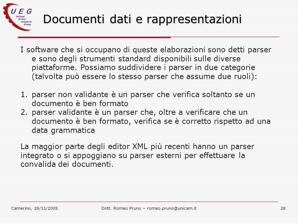 Camerino, 26/11/2005Dott. Romeo Pruno – romeo.pruno@unicam.it28 Documenti dati e rappresentazioni I software che si occupano di queste elaborazioni so
