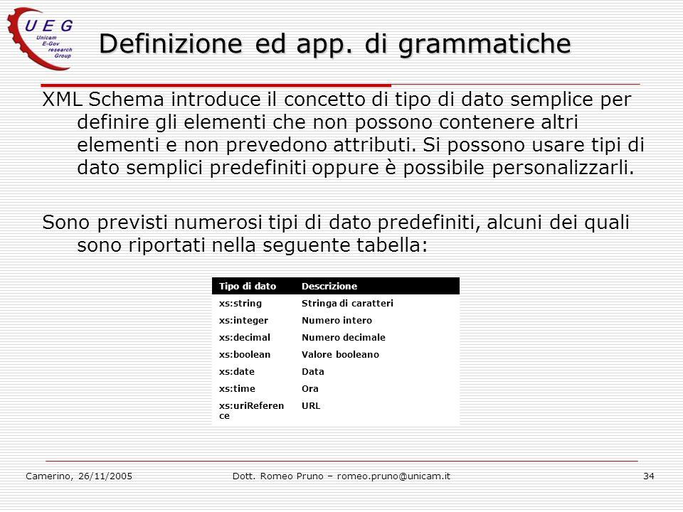 Camerino, 26/11/2005Dott. Romeo Pruno – romeo.pruno@unicam.it34 Definizione ed app. di grammatiche XML Schema introduce il concetto di tipo di dato se