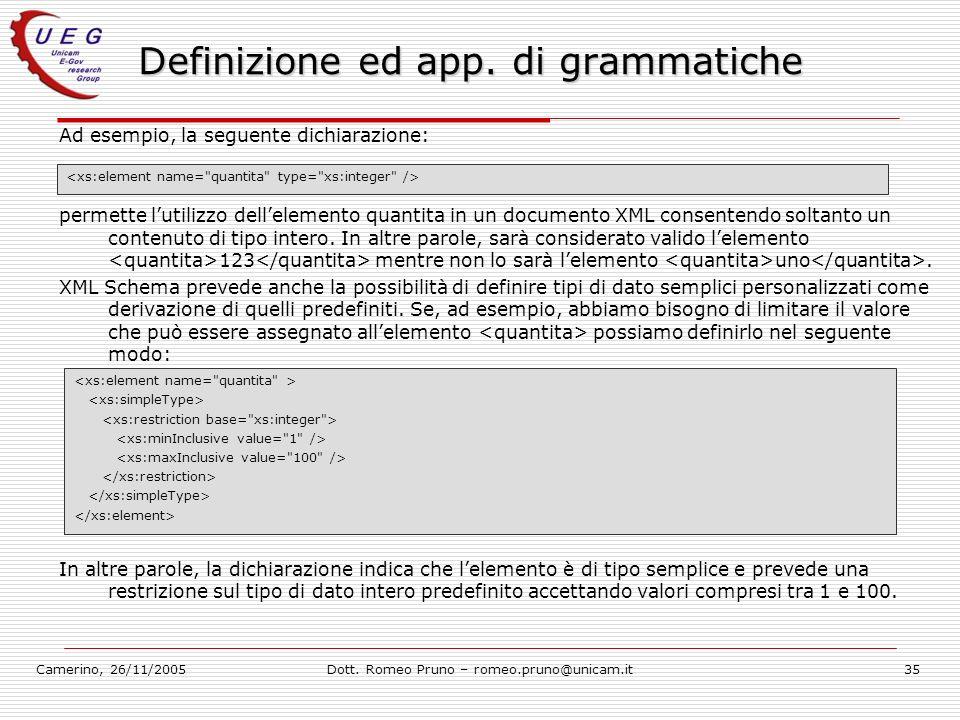 Camerino, 26/11/2005Dott. Romeo Pruno – romeo.pruno@unicam.it35 Definizione ed app. di grammatiche Ad esempio, la seguente dichiarazione: permette lut