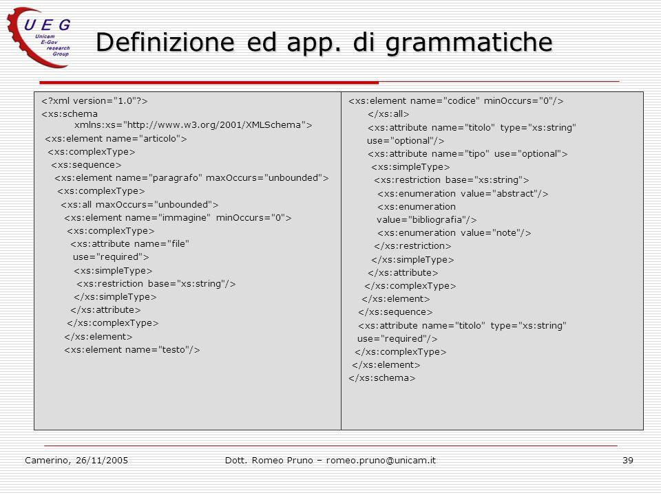 Camerino, 26/11/2005Dott. Romeo Pruno – romeo.pruno@unicam.it39 Definizione ed app. di grammatiche <xs:attribute name=