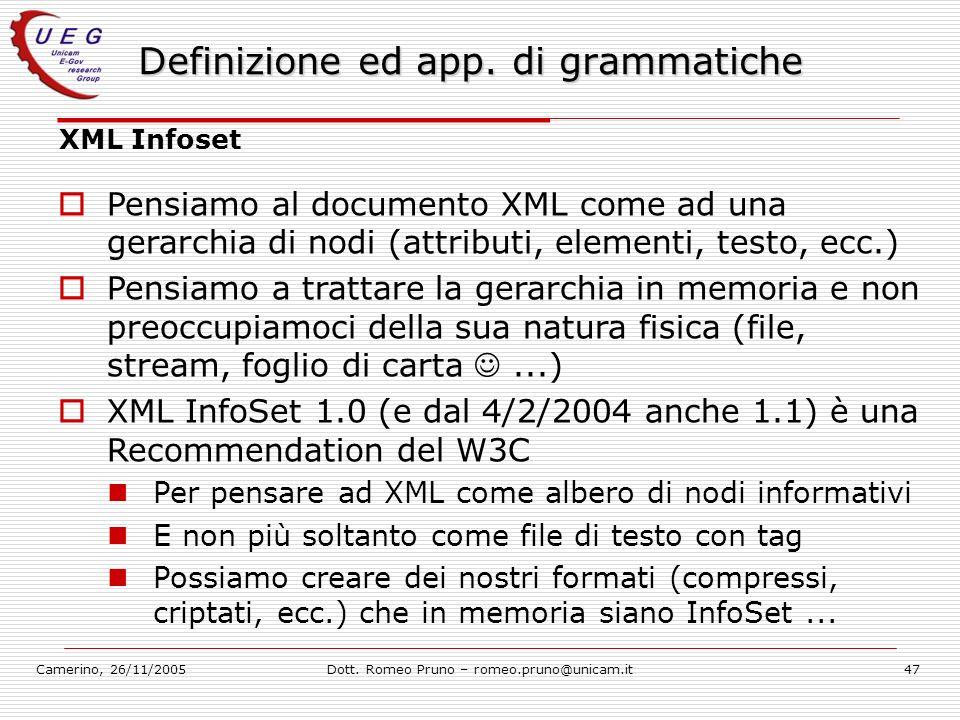 Camerino, 26/11/2005Dott. Romeo Pruno – romeo.pruno@unicam.it47 Definizione ed app. di grammatiche XML Infoset Pensiamo al documento XML come ad una g