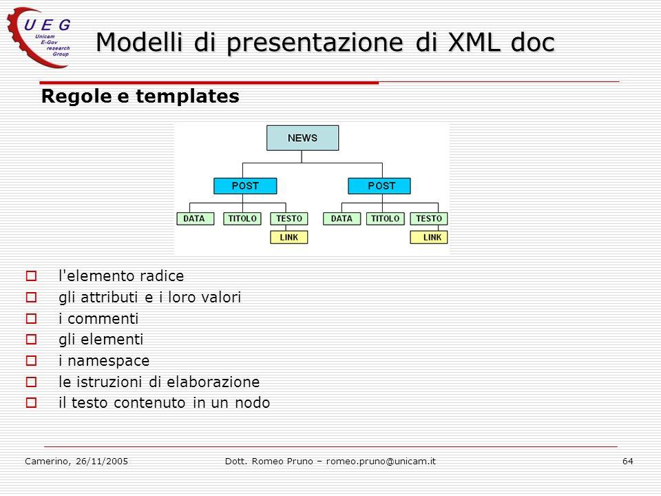 Camerino, 26/11/2005Dott. Romeo Pruno – romeo.pruno@unicam.it64 Modelli di presentazione di XML doc Regole e templates l'elemento radice gli attributi