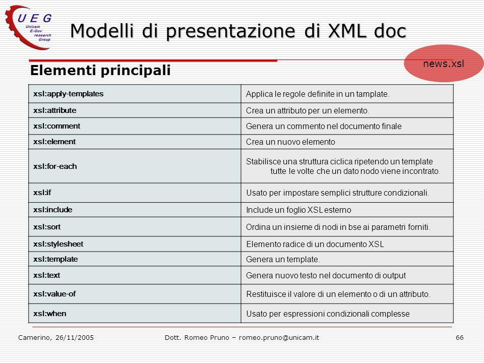 Camerino, 26/11/2005Dott. Romeo Pruno – romeo.pruno@unicam.it66 Modelli di presentazione di XML doc Elementi principali xsl:apply-templates Applica le