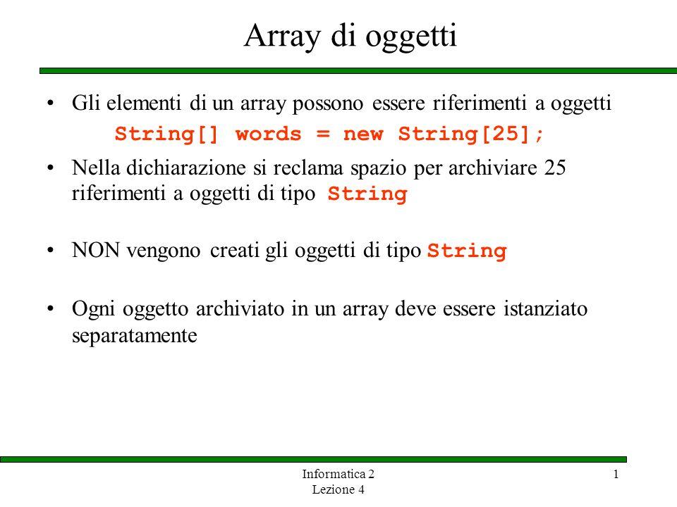 Informatica 2 Lezione 4 1 Array di oggetti Gli elementi di un array possono essere riferimenti a oggetti String[] words = new String[25]; Nella dichia