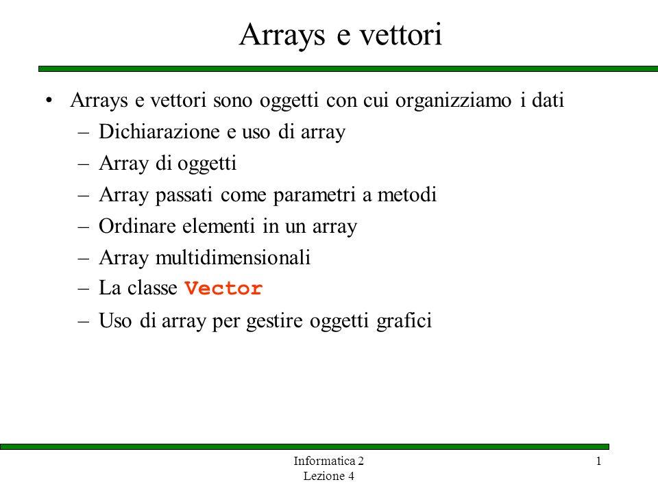 Informatica 2 Lezione 4 1 Il tipo array Un array è una lista ordinata di elementi 0 1 2 3 4 5 6 7 8 9 79 87 94 82 67 98 87 81 74 91 Un array di dimensione N ha lindice che varia tra 0 e N-1 punteggi Larray ha un nome Ogni valore è accessibile tramite un indice numerico Questo array contiene 10 valori che hanno indice tra 0 e 9